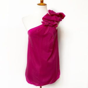 The Limited One Shoulder Fuchsia Top